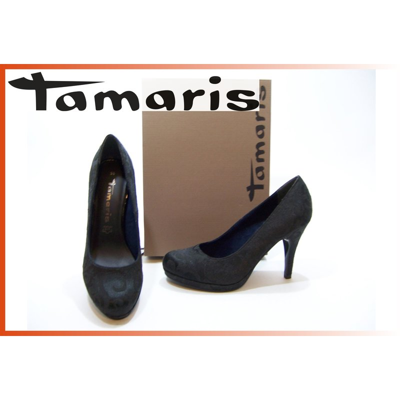 Tamaris Da. Pumps Satin schw/muster