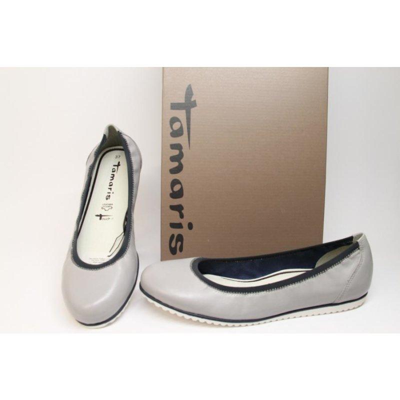 fa3f83a35f99de Tamaris Damenschuhe 1-22104-26 CLOUD NAVY Tamaris Ballerina grau