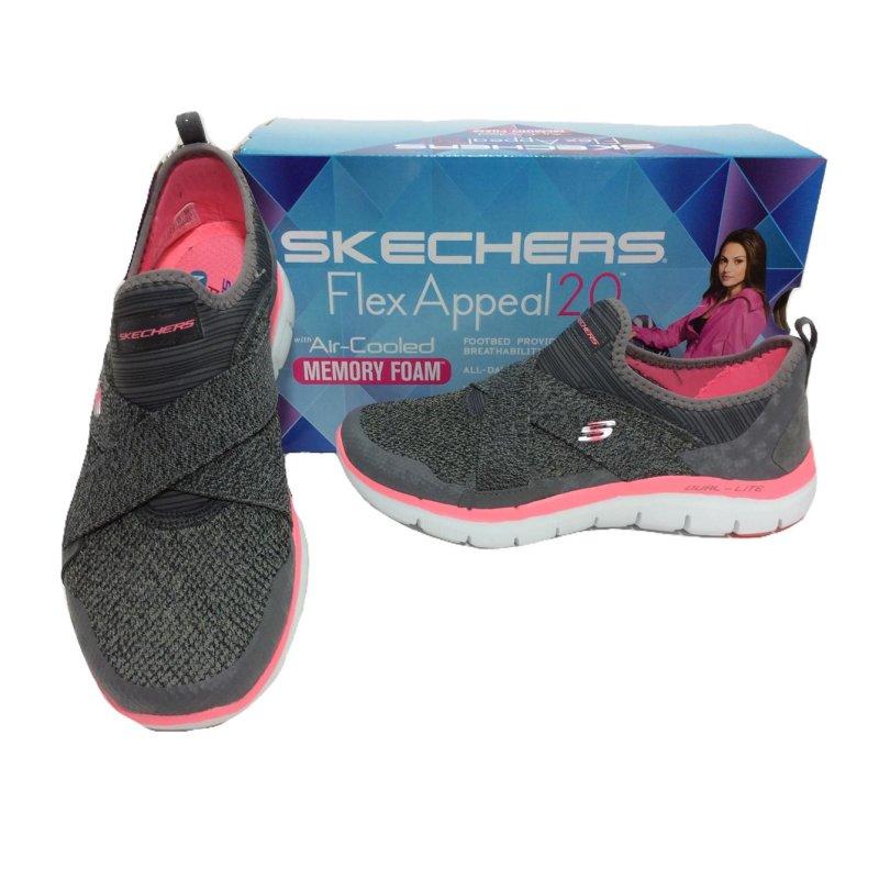 separation shoes 168d4 49255 Skechers Flex Appeal 2.0- New Image mit Air-Cooled Memory Foam; grau/pink