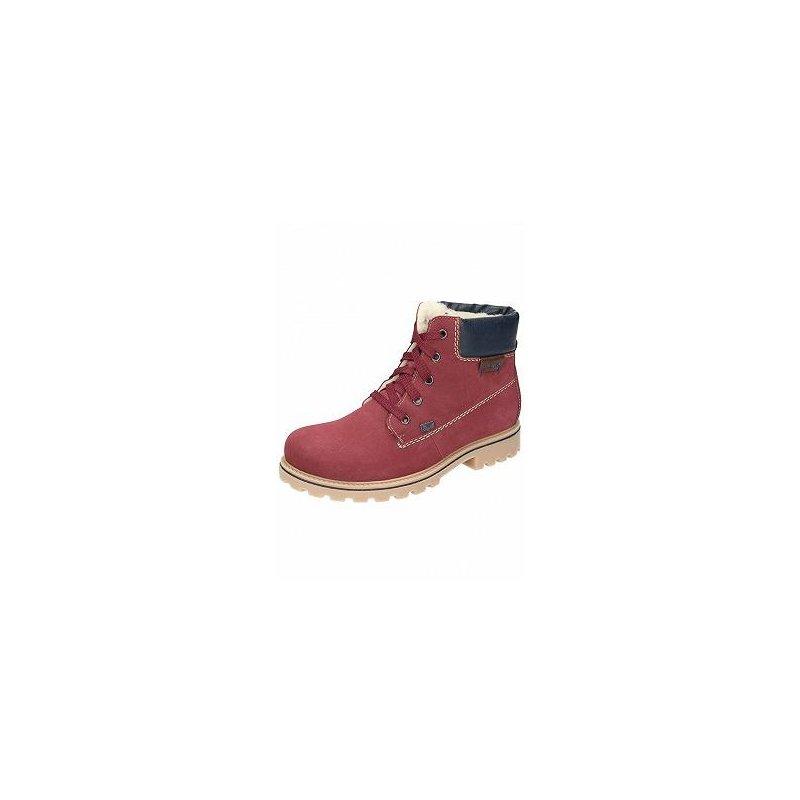 c5636516b865 Rieker 7 Z1420-39 rot kombi Damen Schnür-Boots mit TEX  rot  dunkel ...