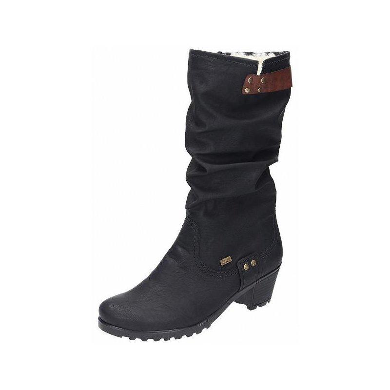 super popular b0749 76582 Rieker Tex Damen Stiefel schwarz, 4cm Absatz