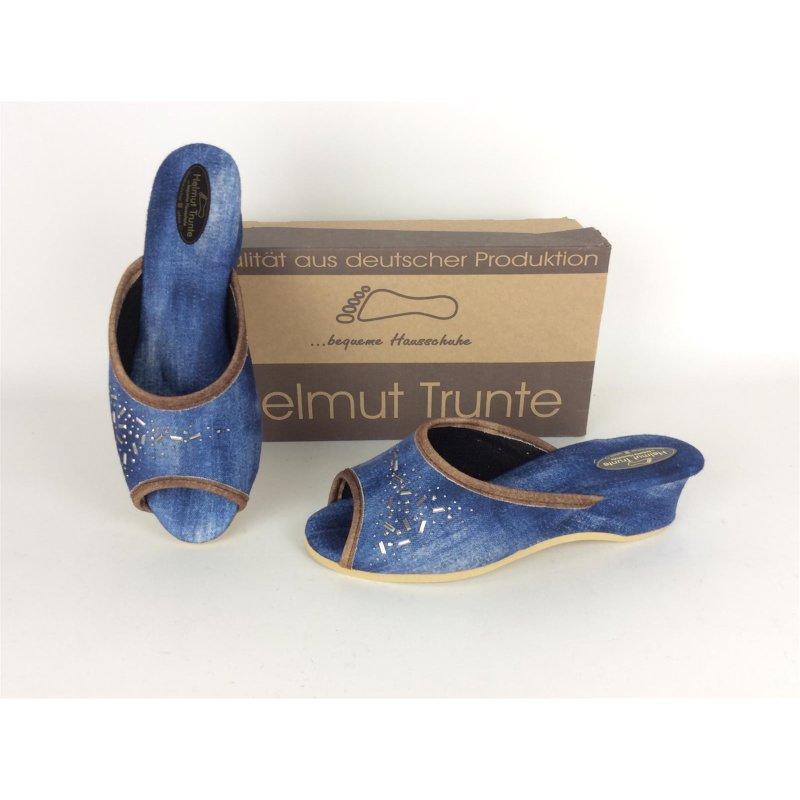 achten Sie auf komplettes Angebot an Artikeln reduzierter Preis Helmut Trunte Damen-Pantoffel Zeh offen, jeansblau