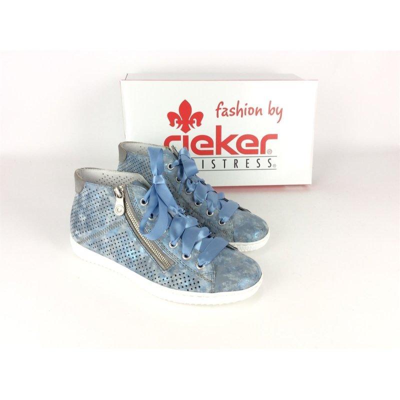 Rieker Damen Sneaker durchbrochen; lose Einlage; hellblau metallic mit Seidenband