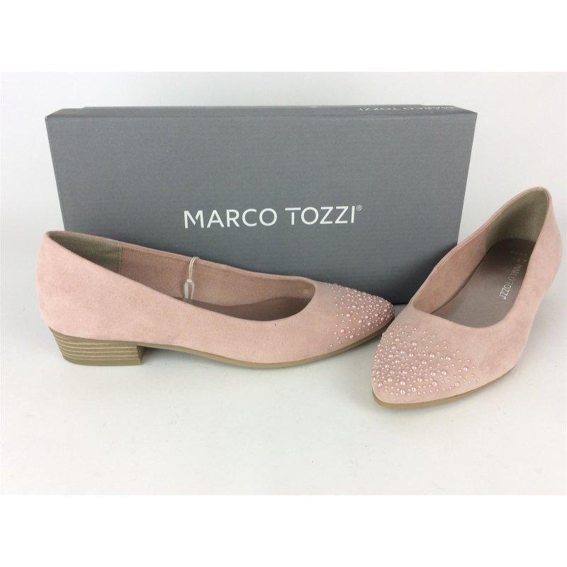 Marco Tozzi Ballerina rosa mit Perlenbesatz an der Spitze